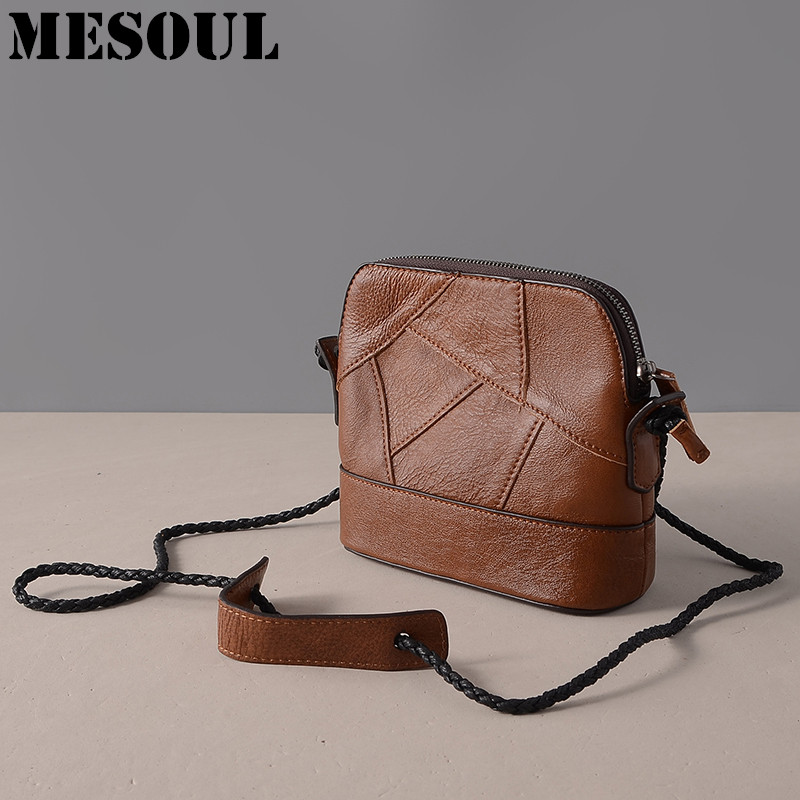 MESOUL Brand Women Shoulder Bag Genuine Leather Ladies Crossbody Bags 2017 New Natural cowhide Small Vintage Handbag For Female vvmi 2016 new women handbag brand design rivet suede tassel bag chic classic vintage saddle bag single shoulder bag for female