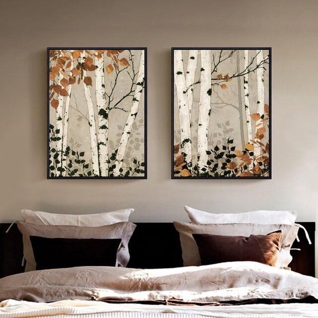 Top 2 Panneau Sans Cadre Moderne Blanc Bouleau Toile Peinture Mur Art  LT27