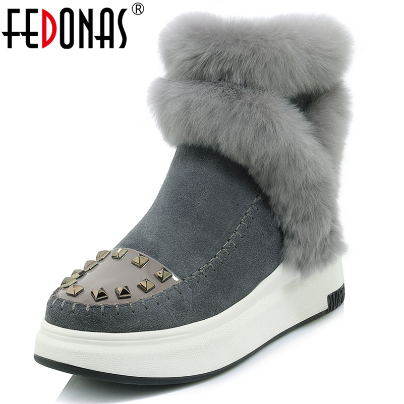 FEDONAS New Women Platforms Ankle Boots Fashion Brand Warm Winter Snow Boots Ladies Fur Short Basic Boots Russia Winter Shoes taima brand new arrival winter fashion women boots warm fur ankle snow boots black ladies style winter women shoes page 2