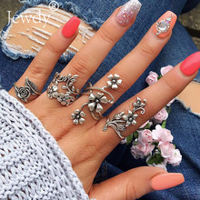 4PCS/Set Vintage Hollow Lotus Flower Leaf Rings Set for Women Boho Jewelry Unique Carving Knuckle Midi Ring Wedding Party 2019(China)