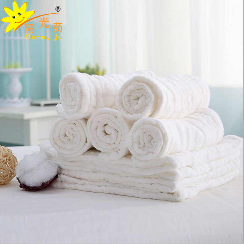 10 Layers 100% Cotton Washed Gauze Baby Diapers Baby Care Products Reusable White Cloth Diaper Inserts Infant Newborn Nappies