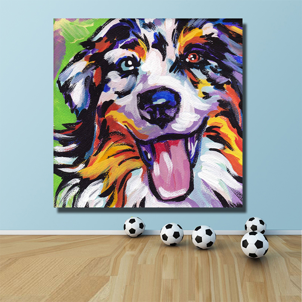 Modern Colorful Oil Painting Pop Happy Dog Decoration Paiting Home Decor on Canvas Modern Wall Art Canvas Posters in Painting Calligraphy from Home Garden
