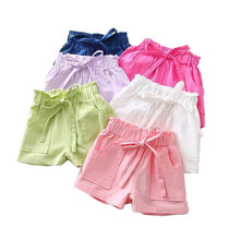 Summer New Baby Girls Shorts Solid Color Beach Sports Short Pants Casual Bow Big Pocket Kids Baby Girls Shorts Baby Clothing(China)
