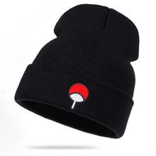 Anime Lovers Naruto Beanie Uchiha Family Logo Cotton Embroidery Winter Hat Knitt