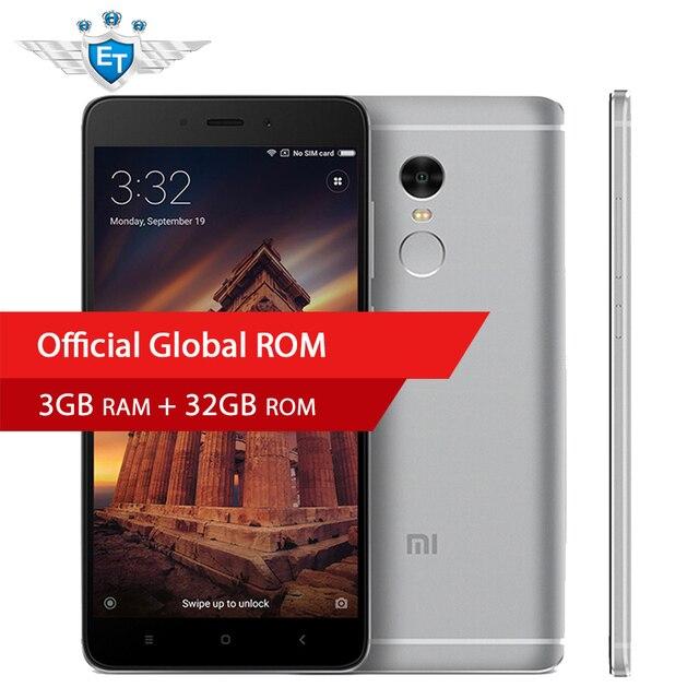 Оригинальный Xiaomi Redmi Note 4 Смартфон МТК helio X20 Дека Core 5.5 дюймов fhd Экран 3 ГБ Оперативная память 32 ГБ встроенная память отпечатков пальцев ID MIUI 8.5
