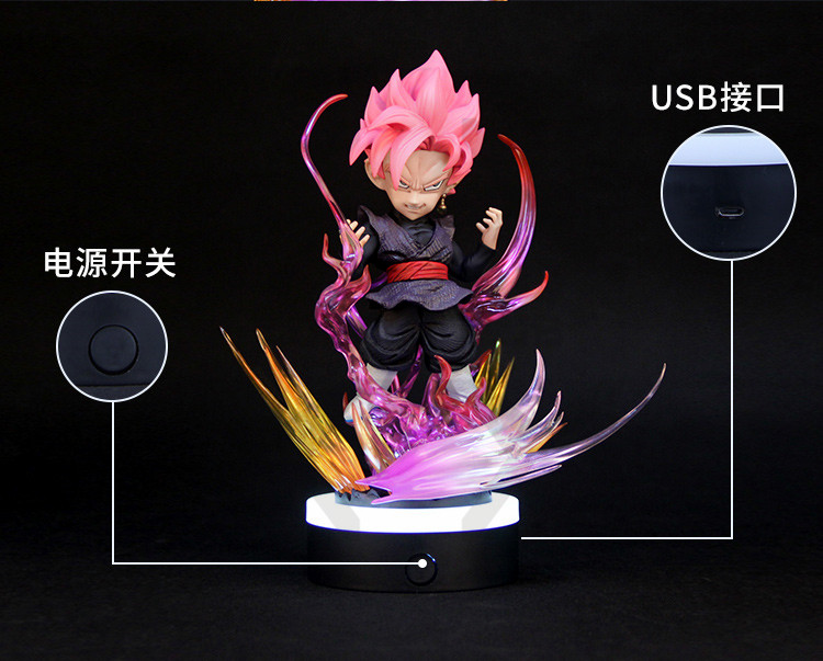 COMIC CLUB IN STOCK Dragon Ball Z 24cm SD black rose goku gk resin figure toy contain led light for Collection - 3