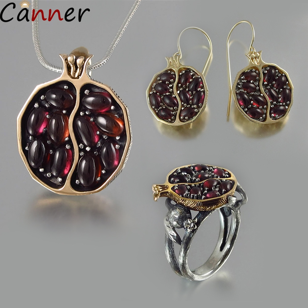 Canner Women Statement Necklaces Rings Earrings Gold Long Chain Necklaces Pomegranate Stone Pendant Necklaces Garnet Jewelry Set