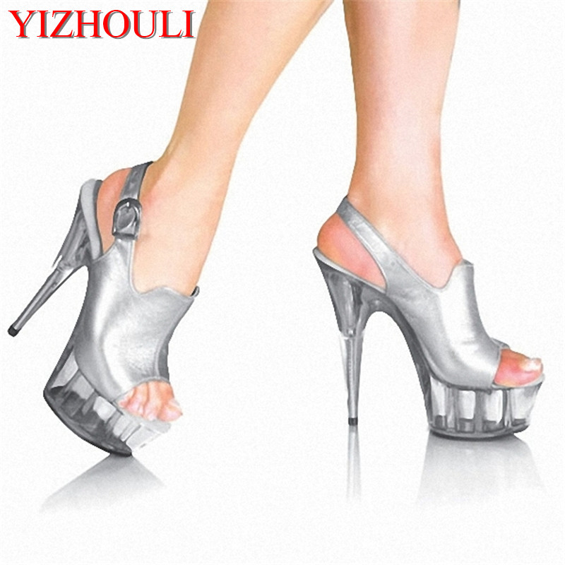 fashion 6 inch fashion brand platform high heels 15cm sexy buckle peep toe  sandals silver women Crystal shoes 0f77b345eaeb
