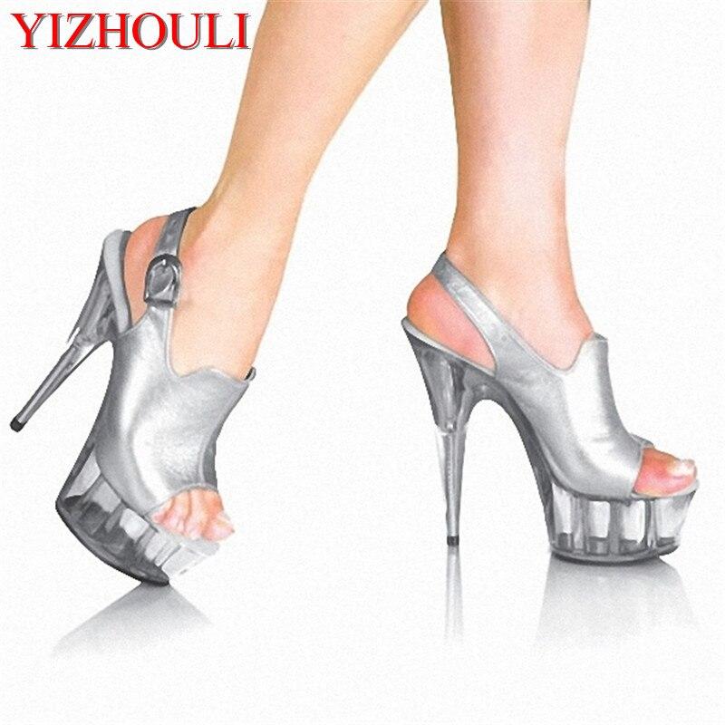 fashion 6 inch fashion brand platform high heels 15cm sexy buckle peep toe sandals silver women Crystal shoes 15cm ultra high heels sandals ruslana korshunova platform crystal shoes the bride wedding shoes