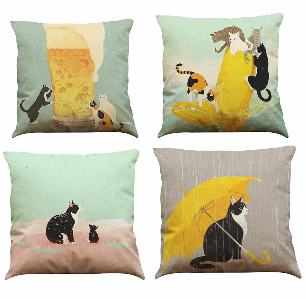Cute Cat Sofa Bed Home Decoration Festival Pillow Case White Bedroom Home Office Decorative Cushion Cover Poszewki Na Poduszki