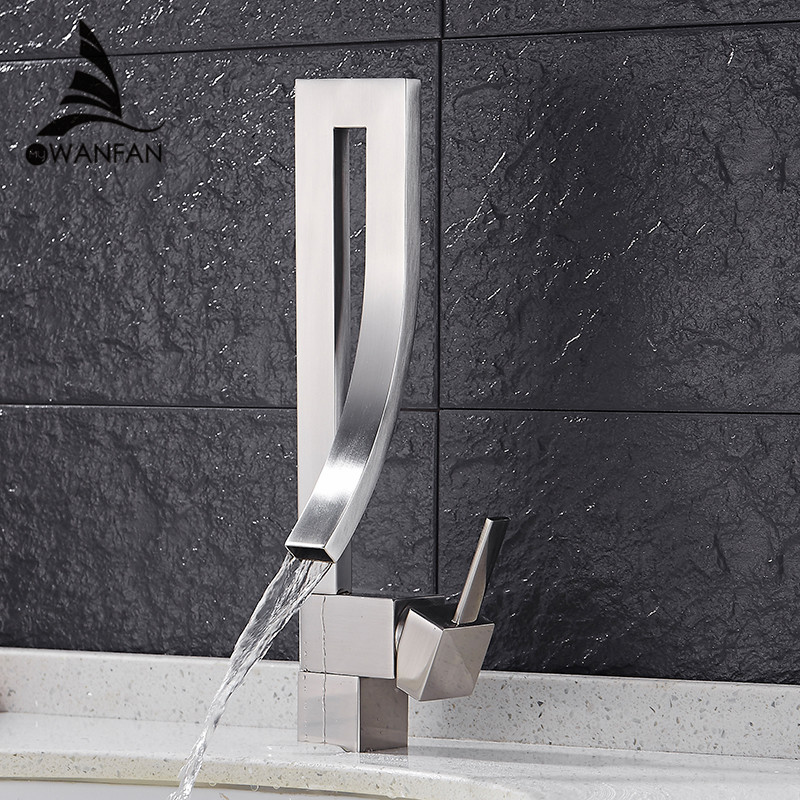 Basin Faucets Chrome Brass Square Tall Bathroom Sink Faucet Single Handle Deck Mounted Hot And Cold Mixer Water Tap WC Cock 9060 basin faucets waterfall chrome finish bathroom sink faucet square single handle hot and cold mixer tap deck mounted lt 514