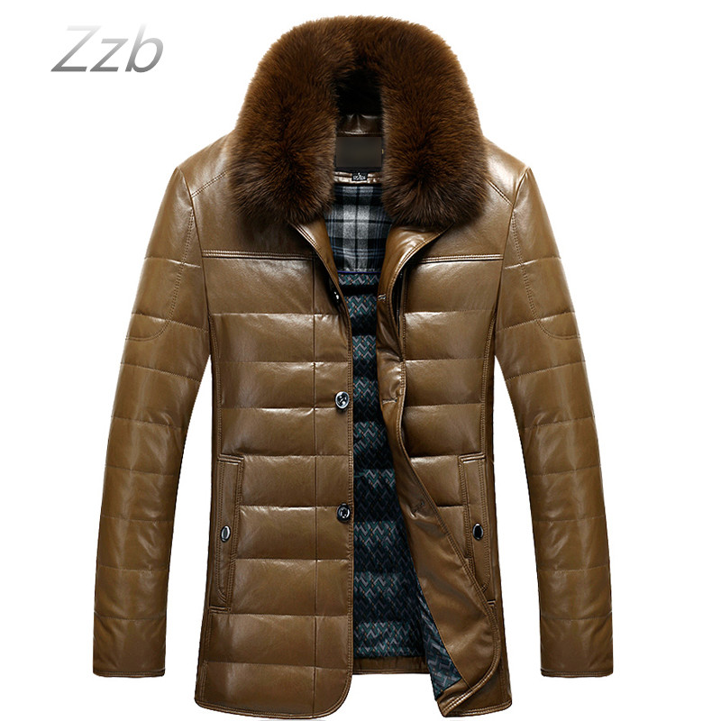 2018 Winter Coat Men Leather Long Warm Snow Coat Mens Leather Down Jackets Turn down fur Collar Male Zipper Overcoat Clothes