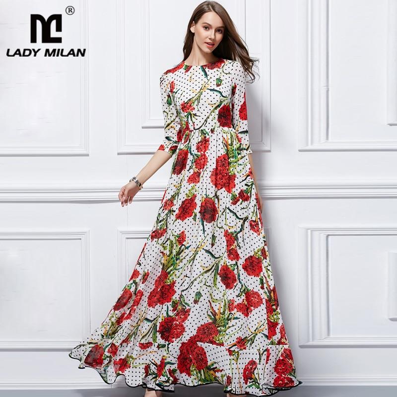 Lady Milan New Arrival 2018 Womens O Neck 3/4 Sleeves Floral Printed Ruffles Elegant Long Designer Runway Dresses