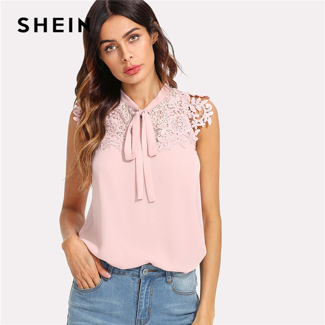1aed0fa9abcfd SHEIN Pink Guipure Lace Applique Tied Neck Bow Top Women Stand Collar  Sleeveless Plain Blouse 2018 Summer Elegant Blouse