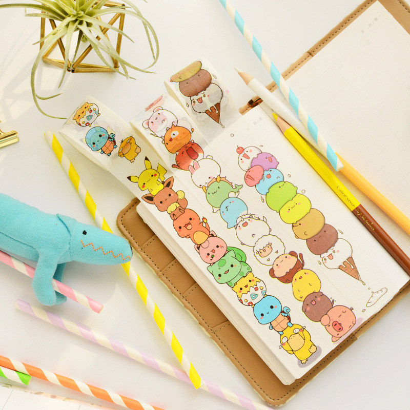 1 pcs/lot Cartoon Washi Tape DIY Japanese Paper Pokemon Decorative Adhesive Tape/Masking Tape Stickers large size 200mm 5m old newspaper poste letter pattern japanese washi decorative adhesive tape diy masking paper tape sticker page 6