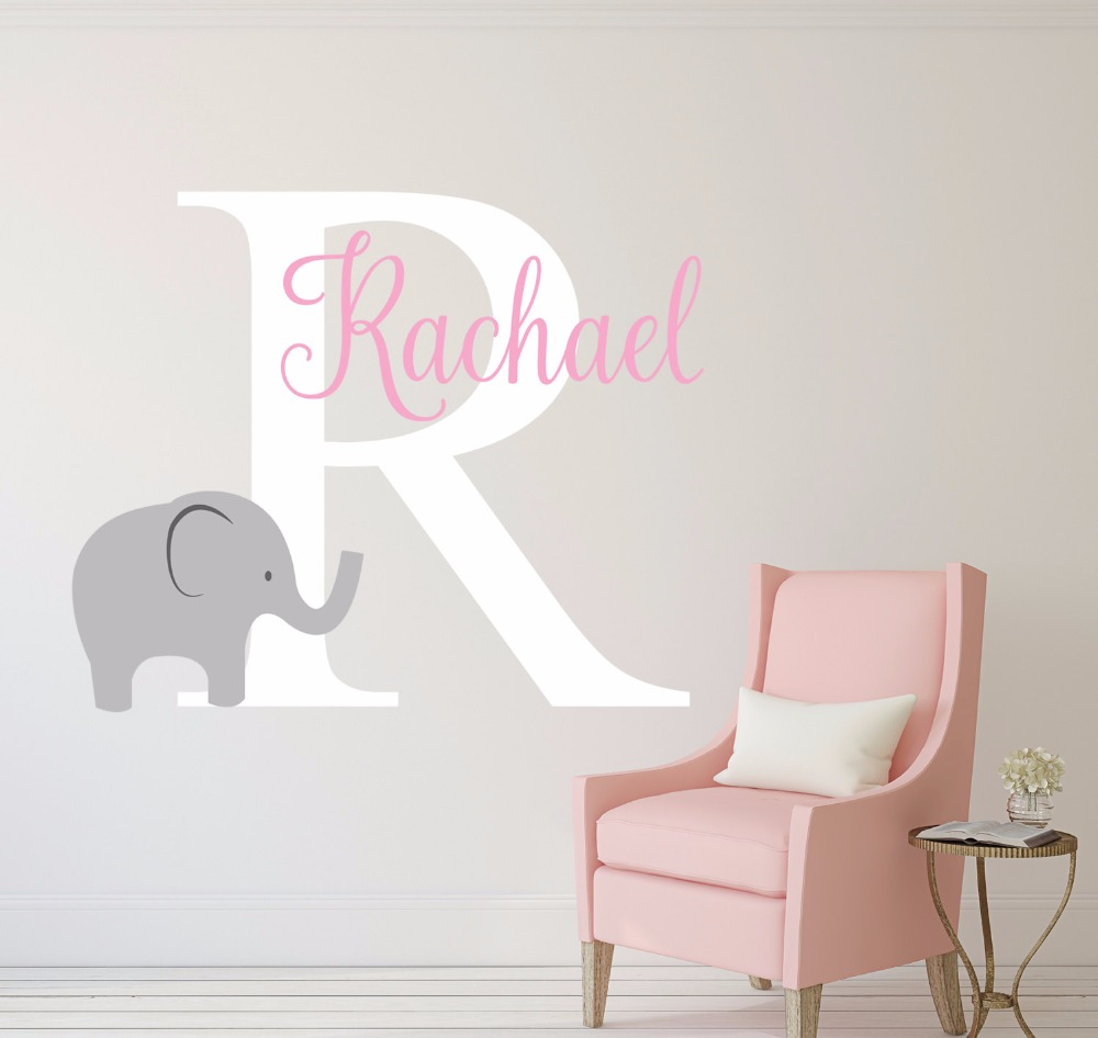 US $8.98 25% OFF|Elefanten Name Wandtattoo, Personalized Name Wandaufkleber  Für Kinderzimmer Baby Kinderzimmer Tapete, Vinyl Wandkunst Dekor A562-in ...
