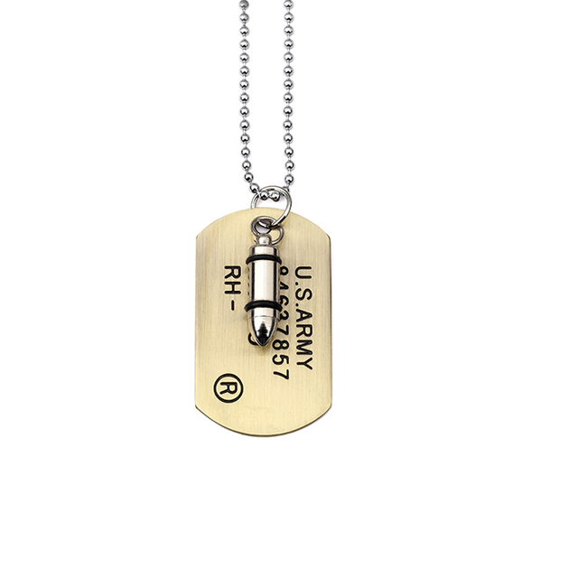 Men Military Army Bullet Charm Dog Tags SINGLE EMBOSSED Chain Pendant  Necklace