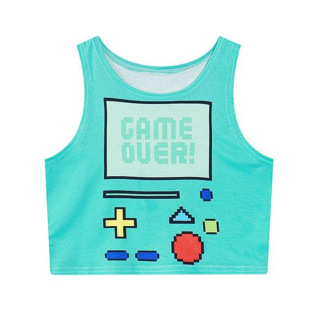 ef6ca2afd970d2 Raisevern new style womens crop top 3D cute gamer print cropped tops  sleeveless tee shirt camisole crop tops punk shirt dropship