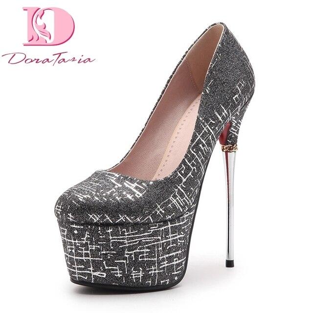 aa35baaa3 DoraTasia Sexy Women s Shinning Synthetic Upper Party Wedding Shoes Woman  Thin High Heels Platform Pumps Size 34-39