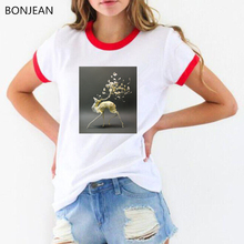 2019 summer tops tshirt women Sika Deer Surreal t shirt femme 90s aesthetic art t-shirt female Animal Flower print t-shirt flower cluster print slub t shirt