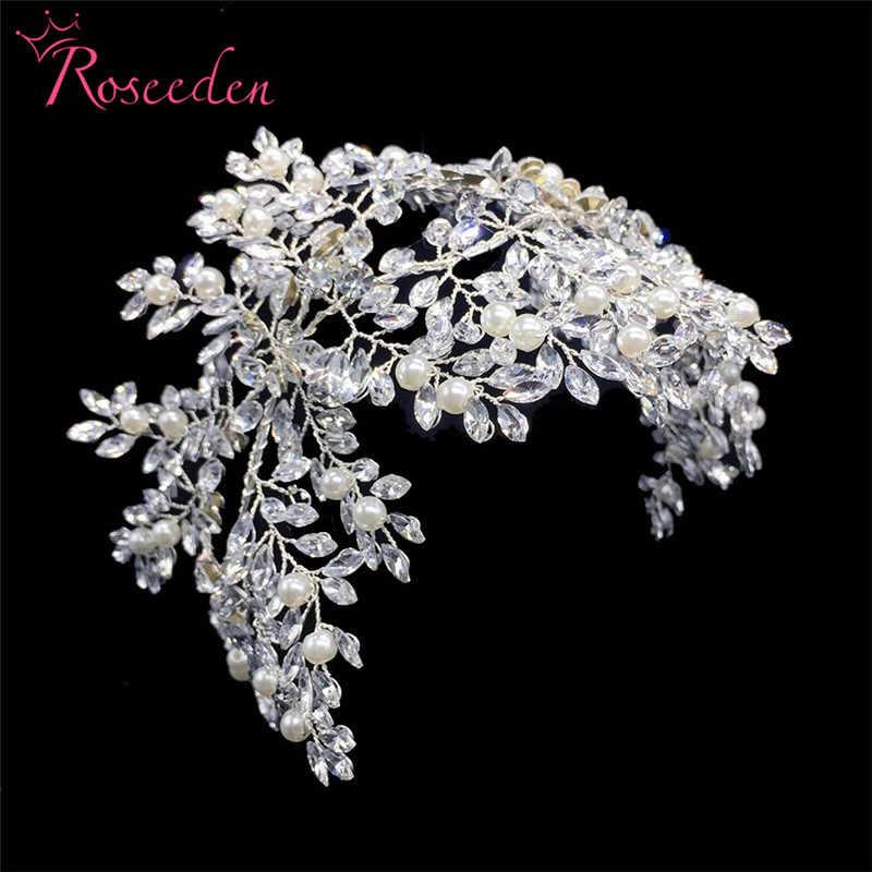Bandeaux de mariage floraux en argent classique pour mariée accessoires de cheveux perles bandeau de mariée diadèmes ornements faits à la main RE3282
