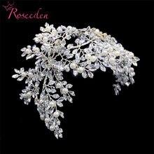 Классический серебристый цвет, свадебные обручи на голову с цветами для невесты, аксессуары для волос с жемчужинами, диадемы ручной работы, ...