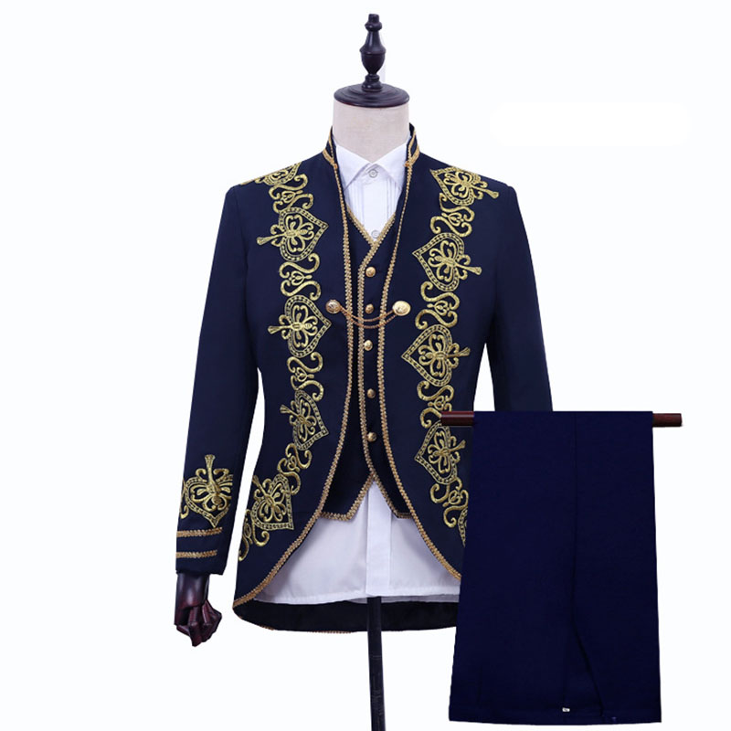3PCS Set Victorian Steampunk Court Prince Lord Costume Vintage Baroque Blazer Suits Vest Pants Set Wedding Groom Clothes For Men
