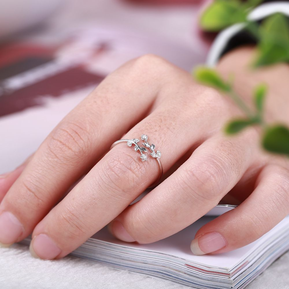 Solid 14k White Gold Women Diamonds Engagement Ring Flower Leaf ...