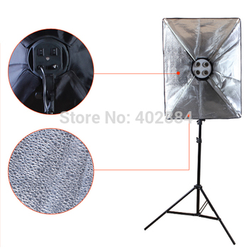 Photo Studio Softbox 4-in-1 E27 Lamp Holder 50*70cm Diffuser 2M Light Stand Photographic Continuous Lighting LED Lamps for video
