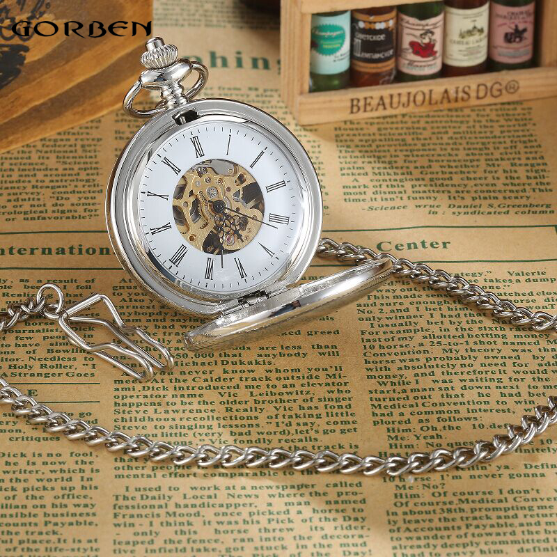 Image 4 - Vintage Silver Smooth Steampunk Mechanical Pocket Watch Roman Numeral Waist Chain 2 Side Open Mens Dual Case Men Pocket Watcheswatch bookwatch elegantwatch altimeter barometer compass thermometer -