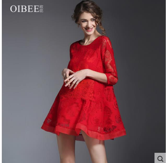 Spring 2018 women's wear new style of the celebrity style of the seven-sleeve a-line dress fashionable base lace dress