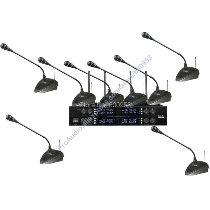 High-End UHF 8x50 Channel Goose neck Desk Wireless Conference Microphones System for Meeting Room micwl d400 uhf 4 gooseneck table uhf wireless conference microphones digital system for big meeting room