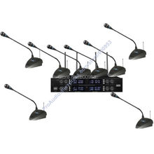High-End UHF 8x32 Channel Goose neck Desk Wireless Conference Microphones System for Meeting Room micwl d400 uhf 4 gooseneck table uhf wireless conference microphones digital system for big meeting room