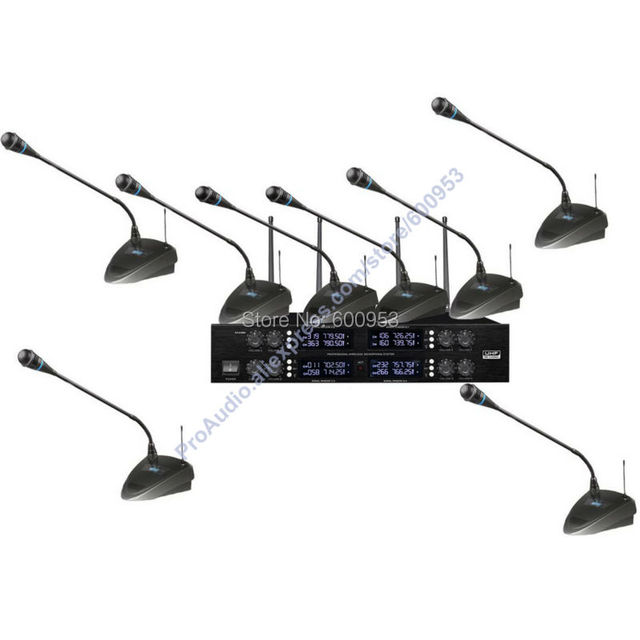 High-End UHF 8x50 Channel Goose neck Desk Wireless Conference Microphones System for Meeting Room