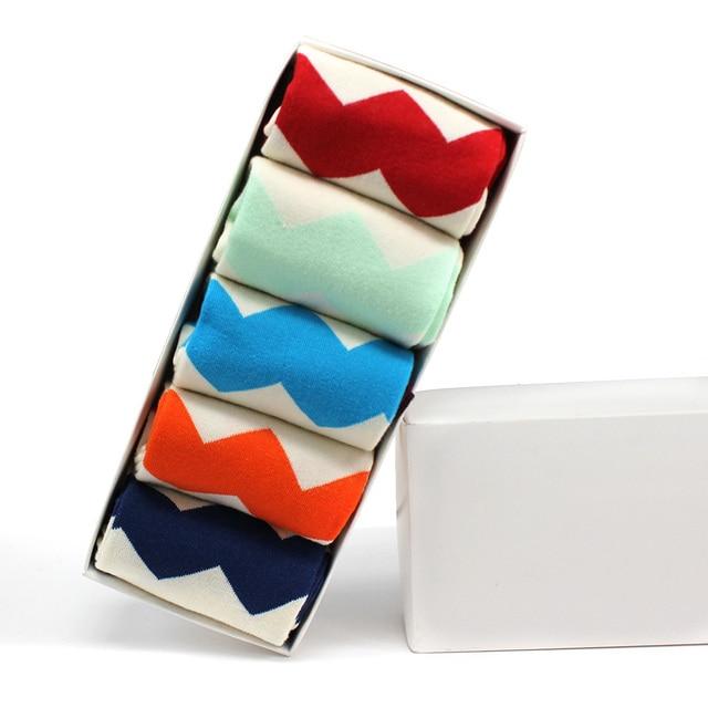 Kha Zix Pack of 5 Pairs Fashion High Quality Cotton Socks for Women Leg Warmers Woman Socks with Box 10018