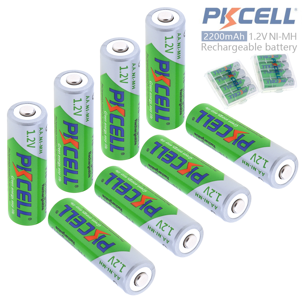 Pkcell 8pcs 1.2V AA 2200mAh Ni-Mh Rechargeable <font><b>Batteries</b></font> with Relief Valve Support 2A Pre-charged + 2pcs <font><b>Battery</b></font> Hold Case Box