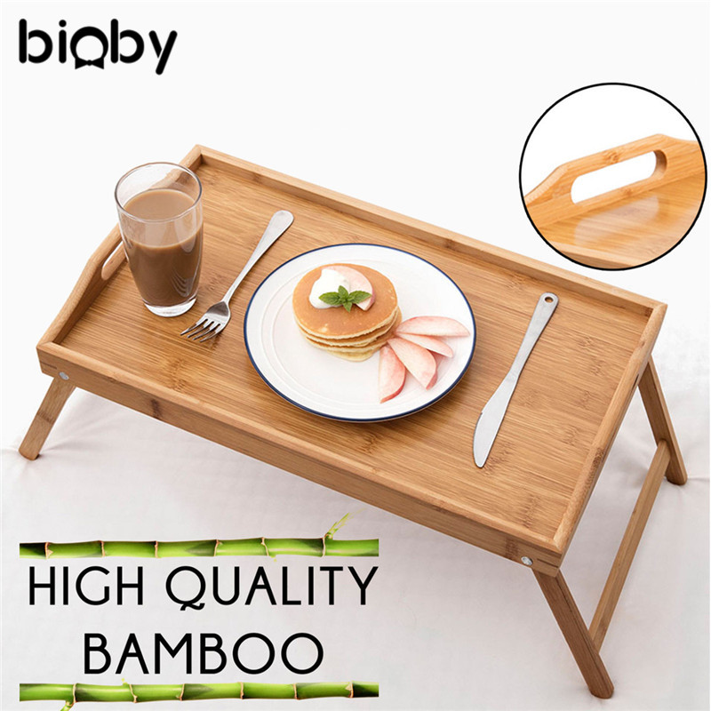 Multifunctional Foldable Bamboo Wood Bed Tray Breakfast Laptop Desk Tea Serving Table Stand Dinner Mother Kids Baby Furniture