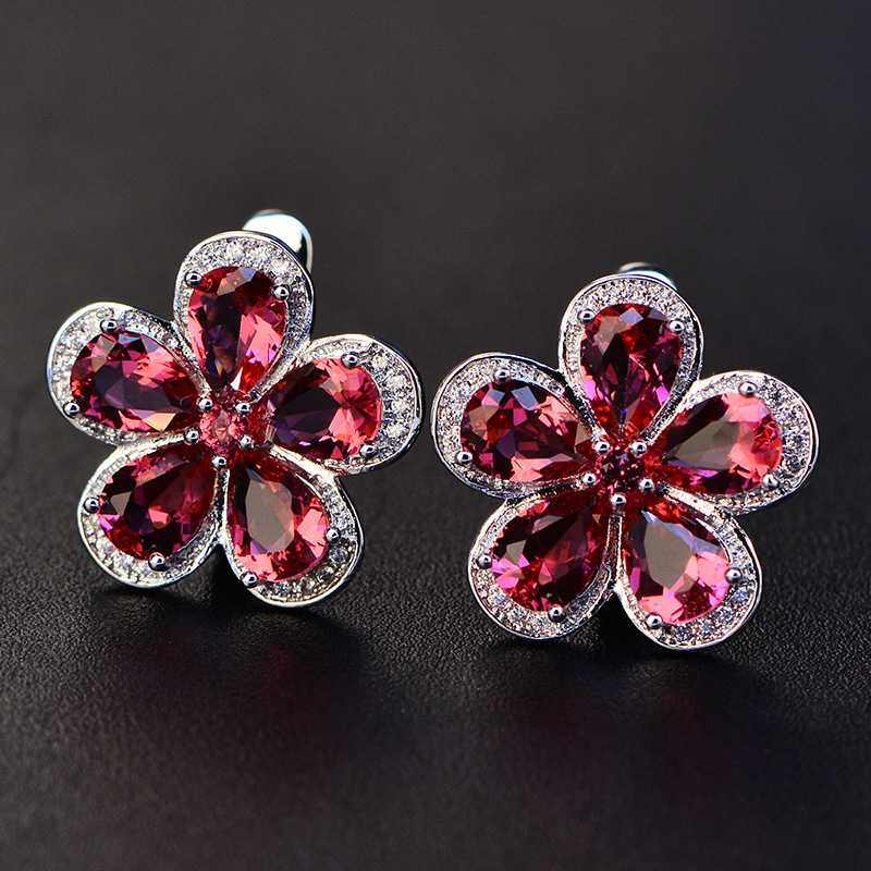 HTB1A6tOXRGE3KVjSZFhq6AkaFXag PANSYSEN Luxury Flower Design Ruby Gemstone Clip Earrings for Women Solid 925 Sterling Silver Jewelry Wedding Christmas Gifts