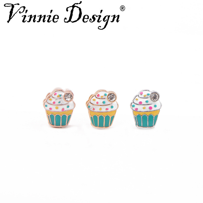 Vinnie Design Jewelry Enamel Cupcake Slide Charms for Wrap Mesh Keepers Bracelets DIY Accessories Making 10pcs/lot