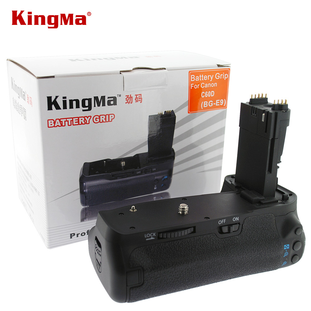 Kingma BG-E9 Pro 2-step Vertical Shutter Battery Grip Holder Pack Replace BG-E9 BG E9 for Canon EOS 60D DSLR Digital SLR Camera