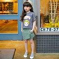 2016 verão nova meninas estilo Coreano calções pantskirt crianças calças moda bebê da menina do algodão sólida