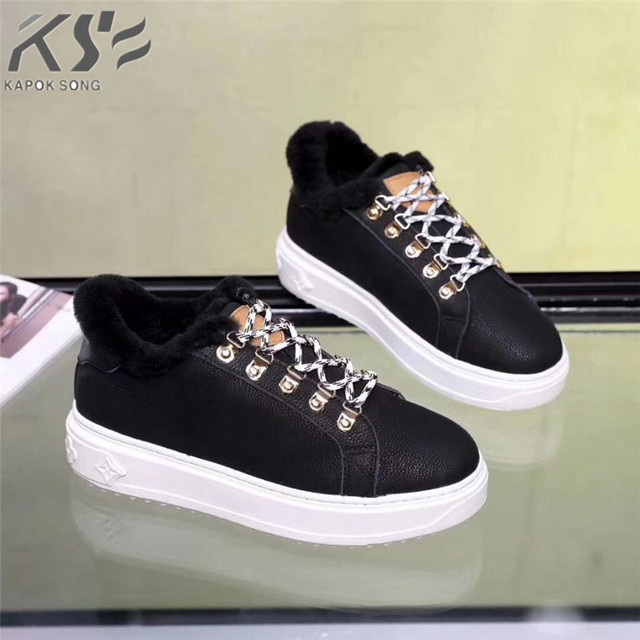 luxury designer leather and wool normal leather women shoes  genuine cow leather excellent quality fashional warm winter v shoe