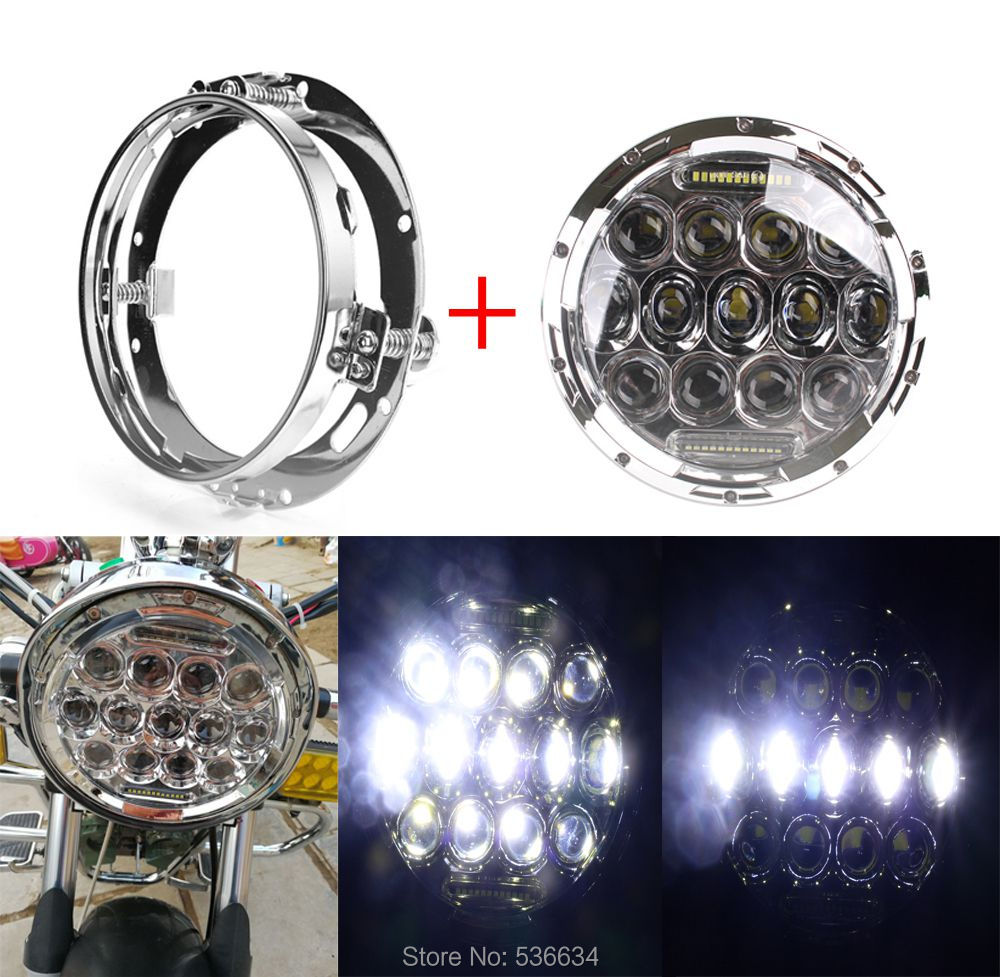 7 inch LED Round Projector Daymaker Headlight With LED Headlight Mounting Bracket Ring For Harley Davidson Softail Deluxe usb3 0 round type panel mounting usb connecter silver surface