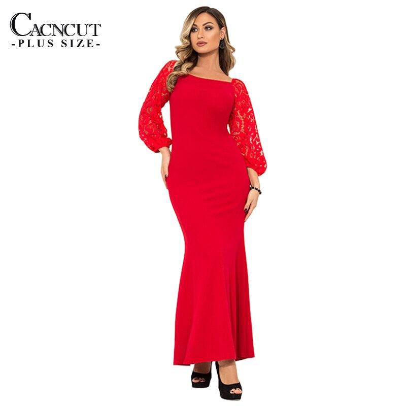 c845504bdb54bf CACNCUT 5XL 6XL Plus Größe Vintage Lange Kleid Elegante Rote Maxi Kleider  2019 Frühling Frauen Abend