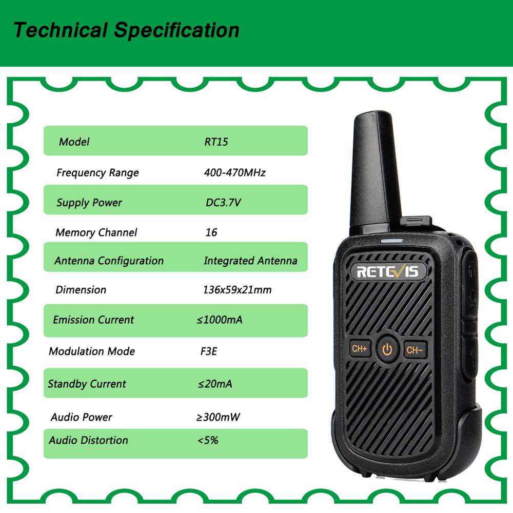 Image 3 - 2pcs Retevis RT15 Mini Walkie Talkie Portable Two Way Radio Station UHF VOX USB Charging Transceiver Communicator Walkie Talkie-in Walkie Talkie from Cellphones & Telecommunications