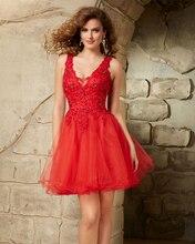 Rot Eine Linie Kurze Cocktailkleider 2016 Perlen Spitze Elegante robe de Cocktail Party Kleid Vestido De Coctel festa curto