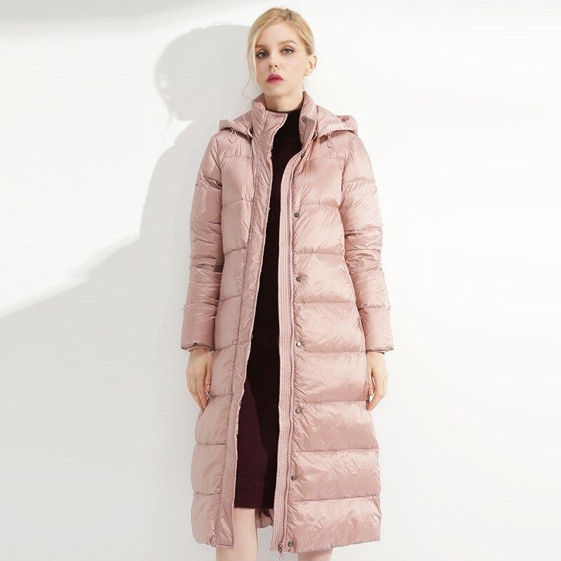 YNZZU Elegant Women's   Down   Jacket 2018 Winter Solid Pink Long Duck   Down     Coat   Thick Warm Hooded Jacket Women manteau femme O756
