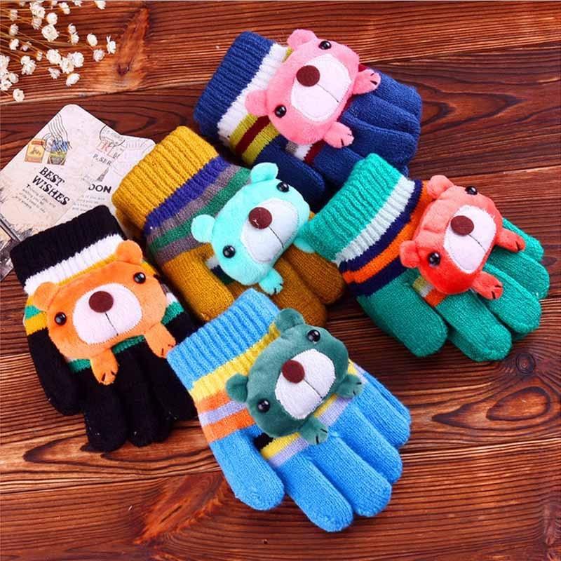 Children Kids Full Finger Gloves Knitted Mittens Thicken Cashmere