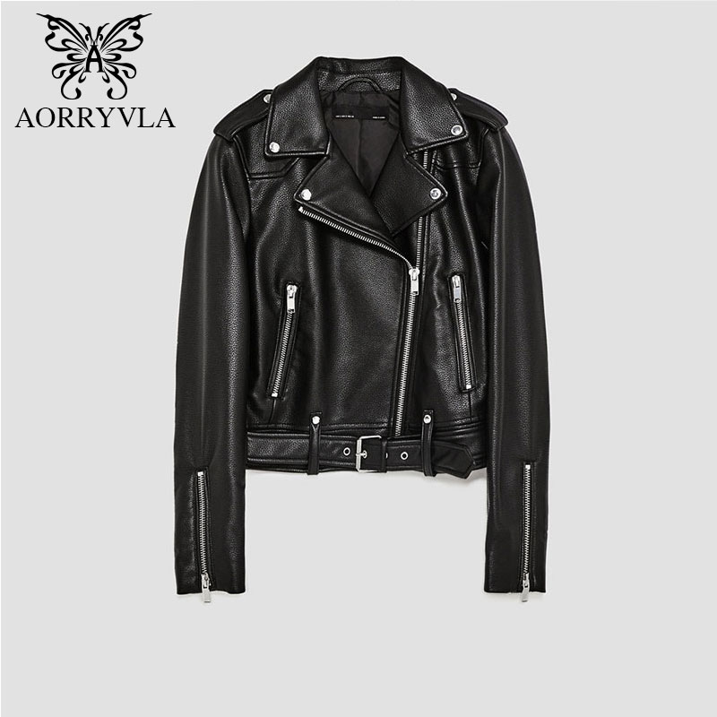 AORRYVLA Brand Faux   Leather   Jacket For Women Spring 2019 Black Short Full Sleeve Zippers Bike Ladies Basic Jackets Good Quality