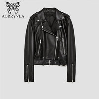 AORRYVLA Brand Leather Jacket For Women Autumn 2018 Black Short Full Sleeve Zippers Moto Ladies Basic Jackets Good Quality